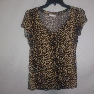 A'GACI Brown Tan Leopard Top Sz M